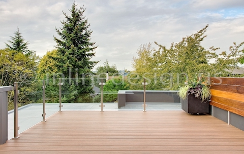 stainless steel railing square glass outdoor deck
