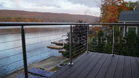 stainless steel cable railing leaves