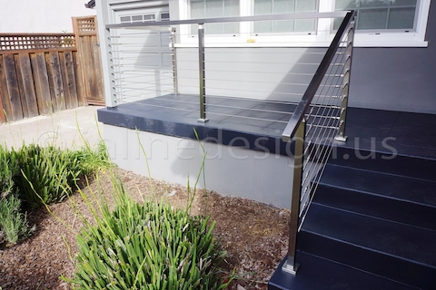 stainless steel cable railing square post handrail