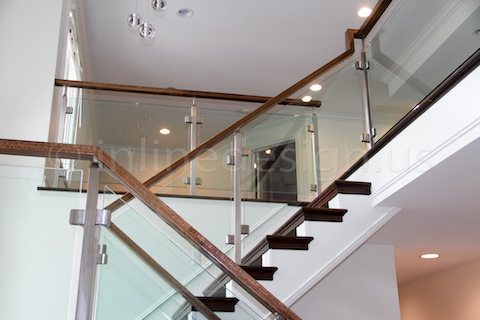 glass railing going up