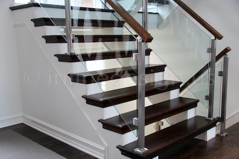 glass railing steps