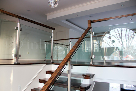 glass railing wood