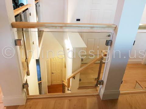 glass railing wood top