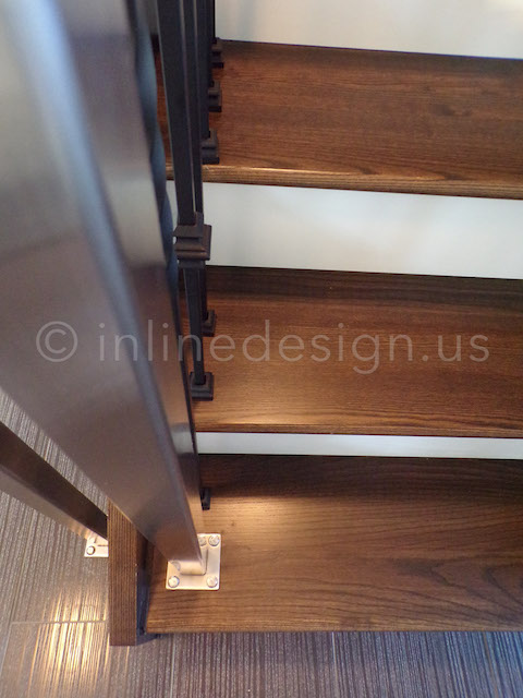 Wood Stairs Stainless Railing