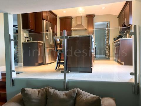 glass railing kitchen