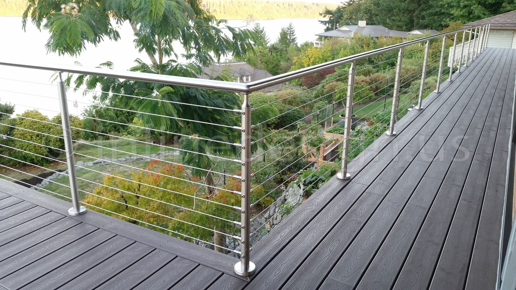 Ryan wa modern stainless steel cable and glass railing