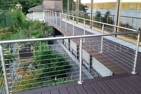 stainless steel cable railing on deck