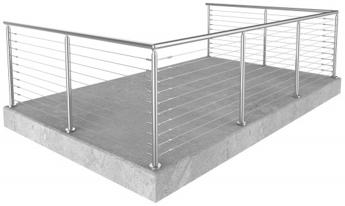 Miami Round Floor Mounted cable railing 36 in