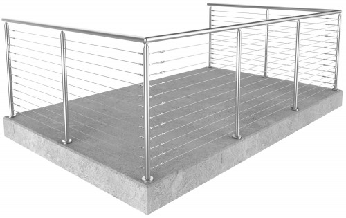 Miami Round Floor Mounted cable railing 42 in