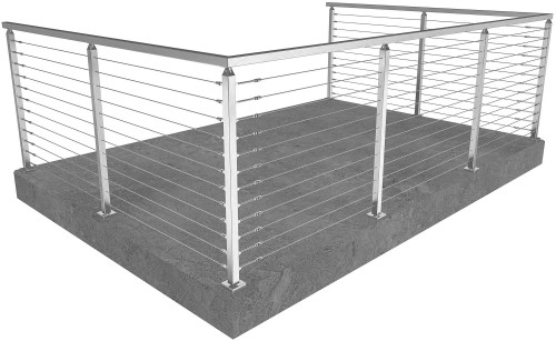 cable railing miami square floor mounted 42 in