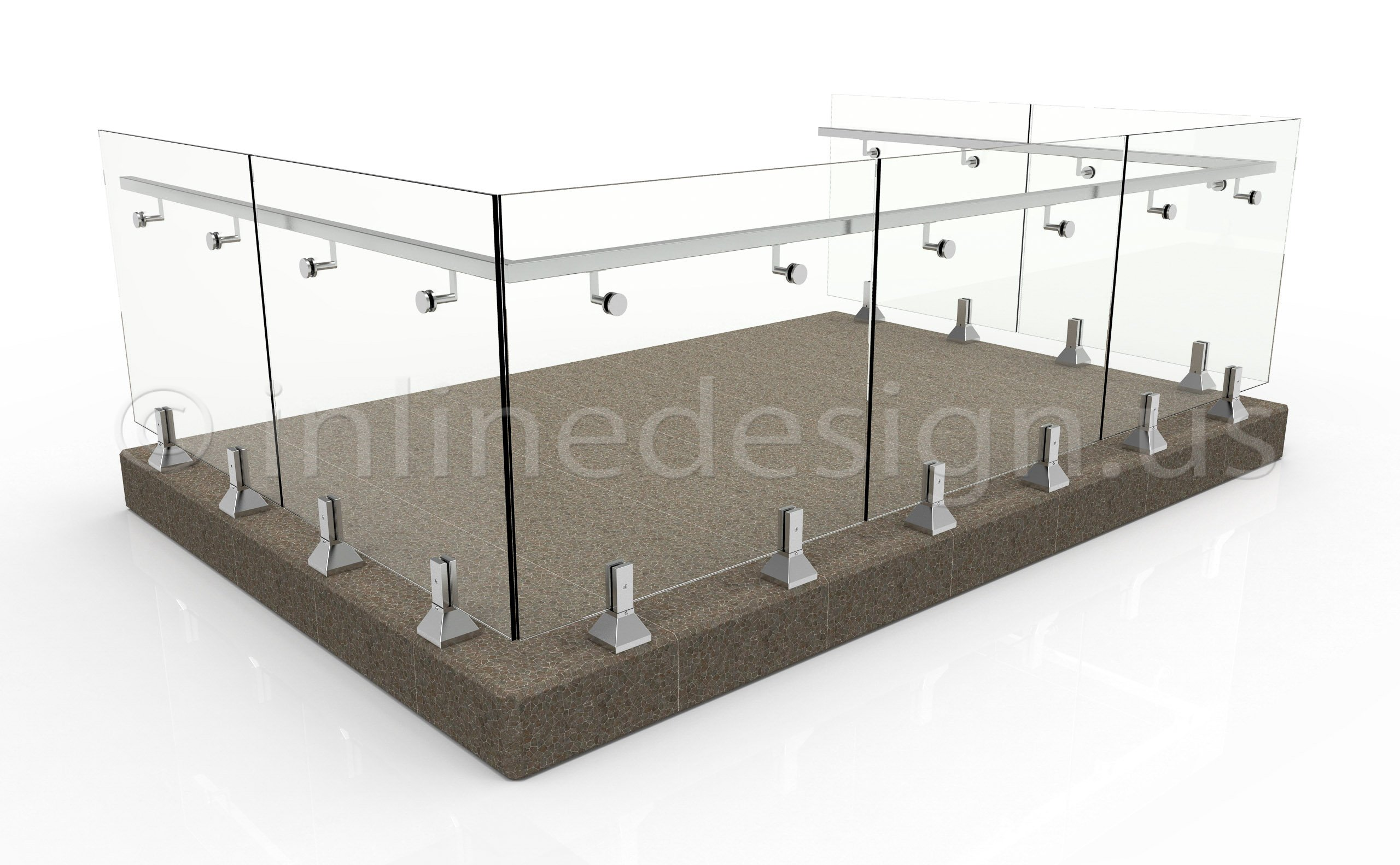stainless steel spigot glass 42in high patio stone handrail