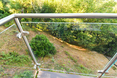 glass railing balcony corner