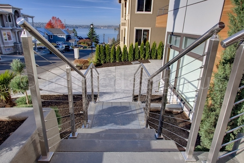 stainless steel cable railing square posts deck