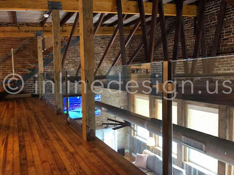 beautiful loft square glass railing