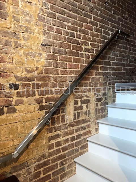 brick wall square handrail