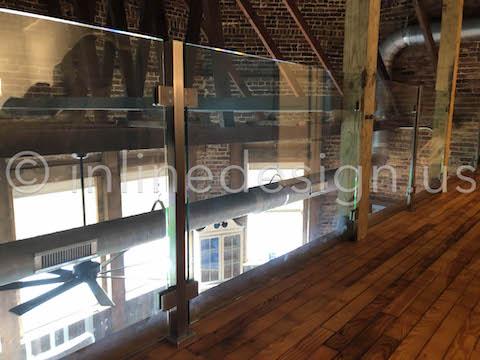 glass railing wood loft