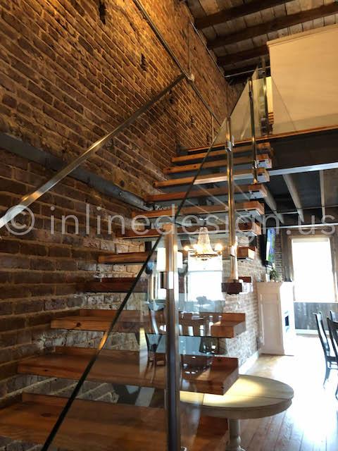 glass staircase railing interior