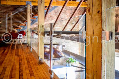 wood glass railing interior