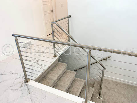 stair guardrail round cable railing
